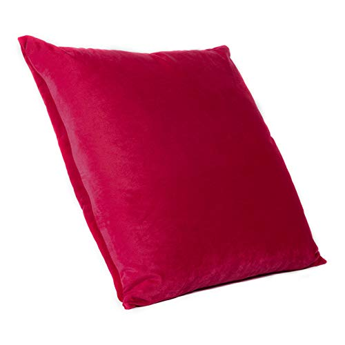 DECOMALL Super Soft Cozy Solid Decorative Floor Pillow Cover, Cushion Case, 26 x 26 inches, Red ()
