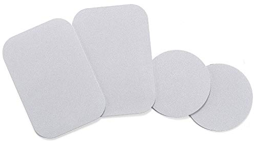 Mount Metal Plate with Adhesive for Magnetic Cradle-Less Mount -X4 Pack 2 Rectangle and 2 Round (Compatible with WizGear mounts) (Silver)