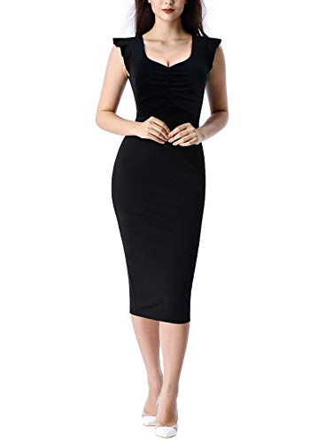 (VFSHOW Womens Black Vintage Elegant Ruffle Sleeve Ruched Slimming Casual Work Business Office Cocktail Party Bodycon Sheath Midi Dress Z3029 BLK L)