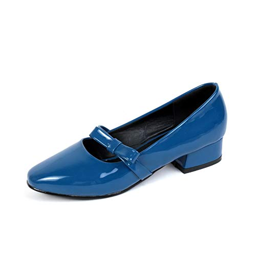 BalaMasa Womens Solid Bows Travel Urethane Pumps Shoes APL10432 Blue