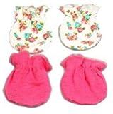 Kit Luvas Algodão Egípcio Floral e Rosa lisa - 0 a 3 meses - Zip Toys