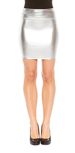 Red Hanger Women's Mini Skirt - Shiny Metallic - Liquid Wet look (Silver-L)
