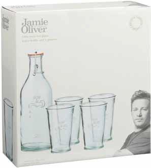 Jamie Oliver Water Bottle and 4xGlas Box Set - Wasserflasche + 4 x ...