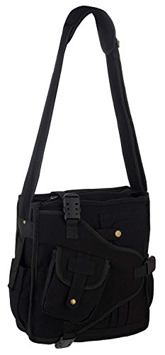 Vintage Canvas Urban Multi Pocket Cross Body Messenger Shoulder Bag Design 1 Black