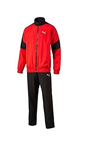 Puma Mens Sweat Jacket - Puma Mens Tracksuit Fun Graphic Woven Jog Suit Jacket/Pants Set Red/Black New 8365637 (M)