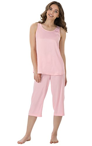 PajamaGram Women's Satin Tank Top Cropped Pant Pajamas, Pink, LRG (Soft Pink Satin)