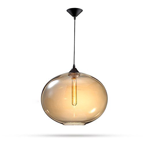 Mozeny Modern Simple Glass Pendant Ceiling Light American Creative Hand Blown Glass Bell Lampshade Pendant Lamp E27 Edison Adjustable Dining Lighting Bar Kitchen Chandelier Hanging Lighting Amber ()