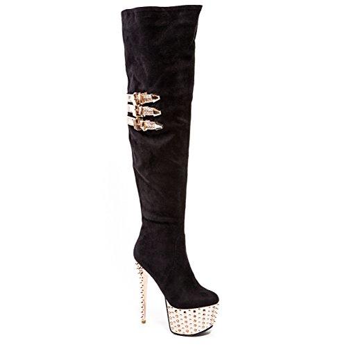 Scarpe Con Tacco A Spillo Sul Gambaletto Elasticizzato Boot Party Club Scarpe Da Donna Di Lady Couture Club Nero / Oro