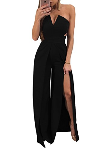 YOMISOY Womens Bodycon Jumpsuits Sexy Clubwear Wide Leg Split Plain Wrap Chest Party Rompers