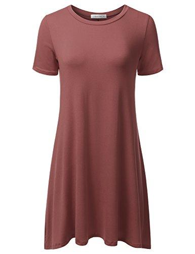 JJ Perfection Women's Casual Short Sleeve Loose Fit Swing T-Shirt Tunic Dress Marsala 3XL (Dress Shirt Red)