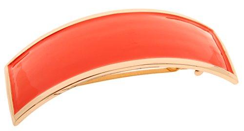 L. Erickson Atelier Enamel Volume Barrette - Burnt Orange/Gold