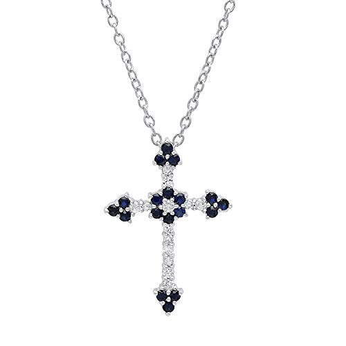 Dazzlingrock Collection 14K Round Blue Sapphire & Diamond Ladies Floral Cross Pendant (Silver Chain Included), White Gold