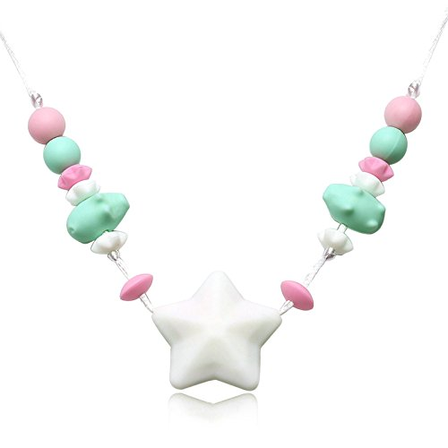 Times Costumes Patterns Bible (Epinki Baby Teether Necklace Food Grade Silicone Teething Necklace Star Design White Chew Necklace)