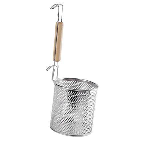 Fityle Stainless Steel Food Strainer Colander With Wooden Hook Handle Noodle Pasta Strainer Steaming Basket - Best For Rinsing Pasta, Noodles,Fruits and More - 12cm -