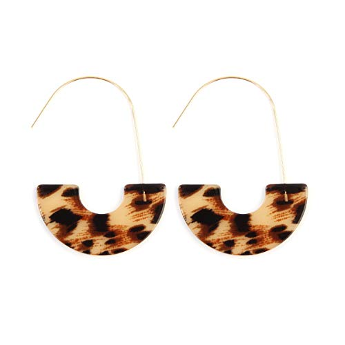 (RIAH FASHION Lightweight Geometric Circle Resin Round Hoop Dangles - Mottled Acetate Half Disc Threader, Post Earrings Leopard, Tortoise, Marbled (Threader Hoop - Leopard/Beige))