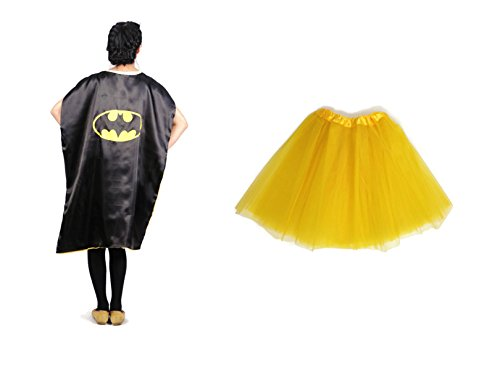 Rush Dance Deluxe Comics Teen/ Adult/ Plus Size Satin Superhero CAPE + TUTU (Teen/ Adult, Batman (Yellow (Batman Costume Sydney)