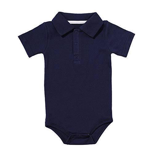 Baby Boys Pure Color Cotton Short Sleeve Polo Bodysuit 3-24 Months (12 Months, Navy)