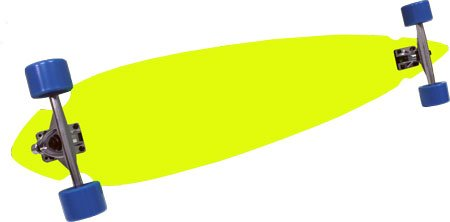 NEON YELLOW PINTAIL LONGBOARD Complete CONCAVE CUT PIN 9.25 x 46 Cruiser 76MM