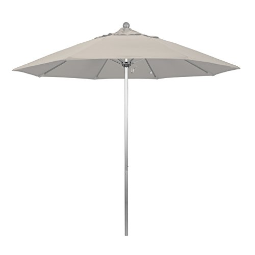 9' Silver Aluminum Pole - California Umbrella 9' Round Aluminum/Fiberglass Umbrella, Push Open, Silver Pole, Pacifica Taupe Fabric
