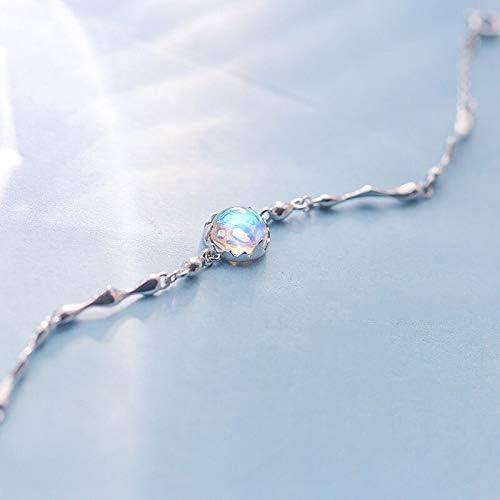 QIANGQIANG - Pulsera de Plata de Ley 925, diseño de la Isla de fantasía Aurora, Cristal Degradado Femenino, Elegante y mágico
