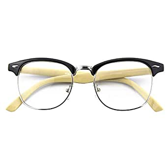 CGID CN56 Vintage Inspired Classic Horn Rimmed Nerd Wayfarers UV400 Clear Lens Glasses,Black Yellow