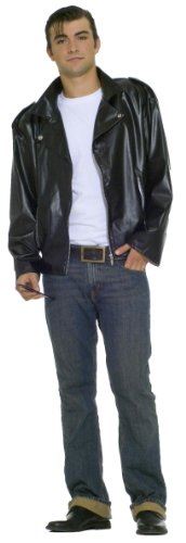 Greaser Costume 50's (Forum Flirtin With The 50S Greaser Jacket, Black, Plus)
