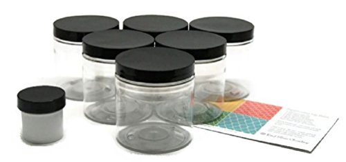 8 Ounce Plastic Jar (Clear 8 oz Plastic Jars with Black Lids (6 pk) with Sample Jar - PET Round Refillable Containers)