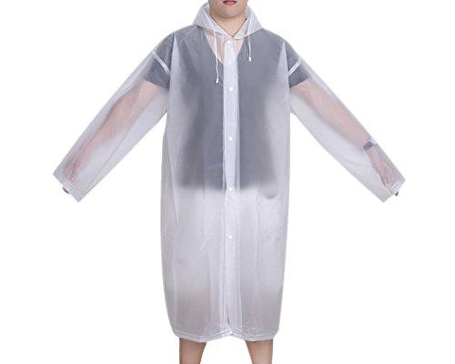 DSstyles imperméable femme imperméable Poncho de pluie avec capuche et manches Ponchos Pluie Portable - blanc