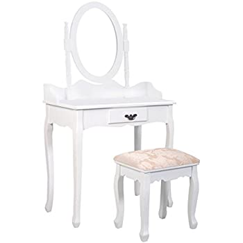 Giantex White Vanity Jewelry Makeup Dressing Table Set W/Stool Mirror Wood Desk (1 Drawer)