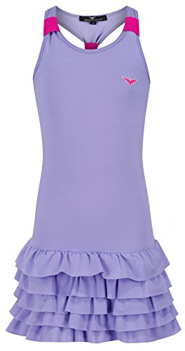 Bace Girls Purple & Pink Tennis Dress Frill Tennis Dress, Junior Tennis Dress, Girls Golf Dress, Kids Golf Clothing, Glrls Sportswear, Girls Netball Dress
