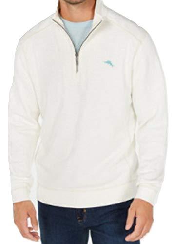 Tommy Bahama Reversible Sweatshirt - Tommy Bahama Men's Tobago Bay Half Zip Pullover (Coconut, X-Large)