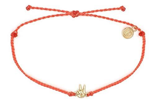 Pura Vida Peace Bracelet, Handmade with Adjustable Band (Coral)