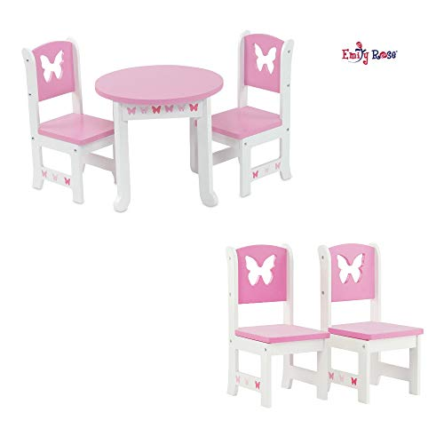 Emily Rose 18 Inch Doll Furniture   Lovely Pink and White Table and 4 Chair Value Pack Dining   Fits American Girl Dolls (Butterfly Theme)