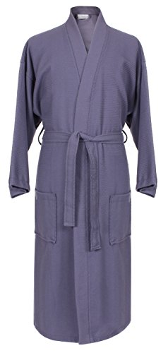 Diamond Robe (100% Cotton Waffle Weave Robe Kimono Spa Bathrobe Made in Turkey Diamond Pattern Unisex (Gray, One Size))