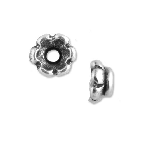 Scallop Bead Cap 4mm Pewter Antique Silver Plated (Package of 2)