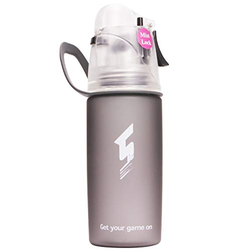 (Qshare Misting Water Bottle, Spray Mist Sports Bottle for Outdoor Sport Hydration and Cooling Down, FDA Approved BPA-Free Misting Water Bottle with Unique Mist Lock Design (Black-16oz) )