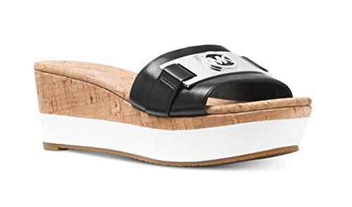 Michael Michael Kors Womens Warren Leather Platform Sandals Black 9 Medium (B,M)