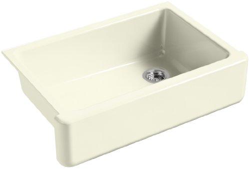 KOHLER K-5826-FD Whitehaven Self-Trimming Under-Mount Single-Bowl Sink with Short Apron, Cane Sugar