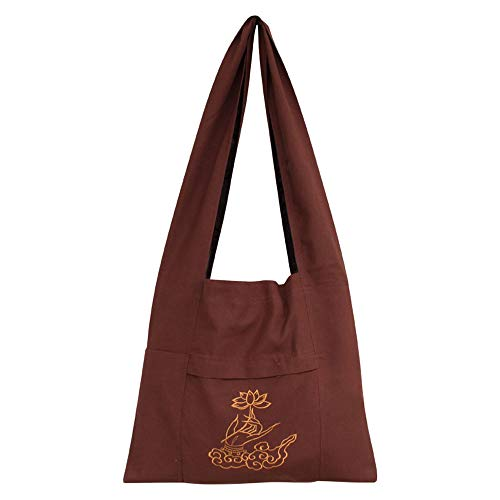 - ZooBoo Shoulder Man Buddhist Bag - Buddhist One Shoulder Embroidery Bag for Uniform Suit - Cotton and Canvas (brown)