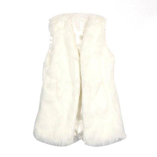 ETOSELL Lady Faux Fur Vest Waistcoat Long Hair Winter Warm Coat Jacket White L