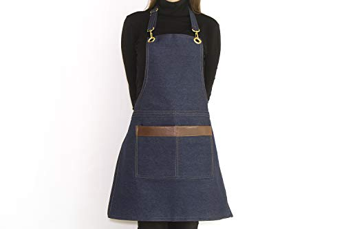 (ROFF Apron with Pockets for Women and Man - Turkish Denim Linen Fabric (Blue))