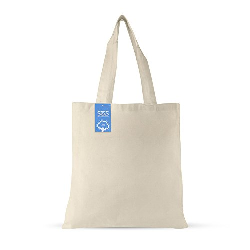 Simply Green Solutions Blank 100% Cotton Fabric Reusable Cloth Bags - Set of 5 - Tote Bags for School, Tote Bags for Grocery Shopping, Fun Promotional Items or Eco-Friendly Reusable Bags by Simply Green Solutions (Image #1)