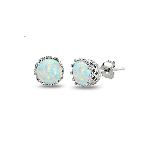 Sterling Silver Created White Opal Crown Stud Earrings (Sterling Silver Created Opal Earring)