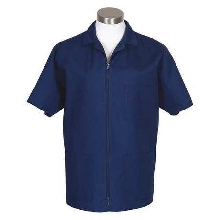 (Fame Fabrics 81773 K74 Zip Front Smock, Short Sleeves, Navy, 2X)