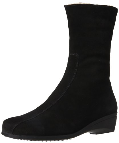 La Canadienne Suede Wedges - La Canadienne Women's Elena Ankle Boot,Black,10 M US