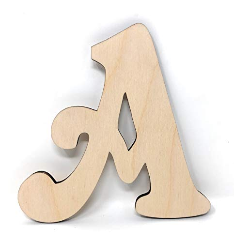 """Gocutouts 12"""" Wooden Letter A Unfinished 1/4"""" Wooden Letters Paint Ready Unfinished Wall Decor Craft Cutout (12"""" - 1/4"""" Thick, A)"""