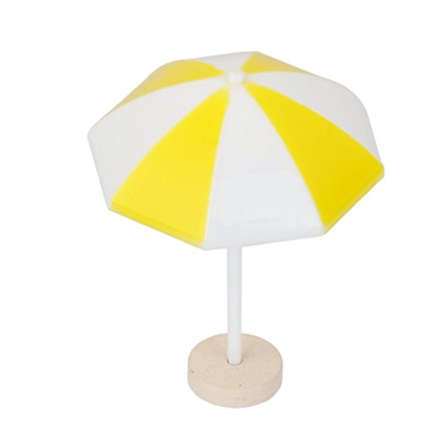 1x Yellow Beach Sun Umbrella Miniature PVC Landscape Bonsai Dollhouse Decor