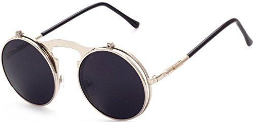 J Flip Para Gafas GLASSES Retro up Sol Silver Unisex Negro Gafas black Steampunk Lente Adulto Gafas amp;L de Hombres Mujeres arzwIr