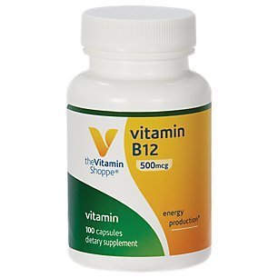 Vitamin B12 500mcg Supports Energy Production, Once Daily Dietary Supplement Vitamin B12 (As Cyanocobalamin), Gluten Dairy Free (100 Capsules) by The Vitamin Shoppe