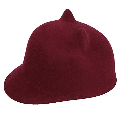 LONIY 100% Wool Felt Kid Children Demon Devil Hat Cat Ears Derby Bowler Cap (One Size:54cm),Wine